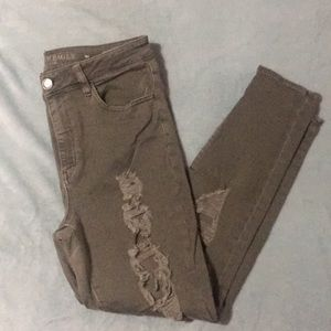 Olive / Army Green distressed AEO Jeggings